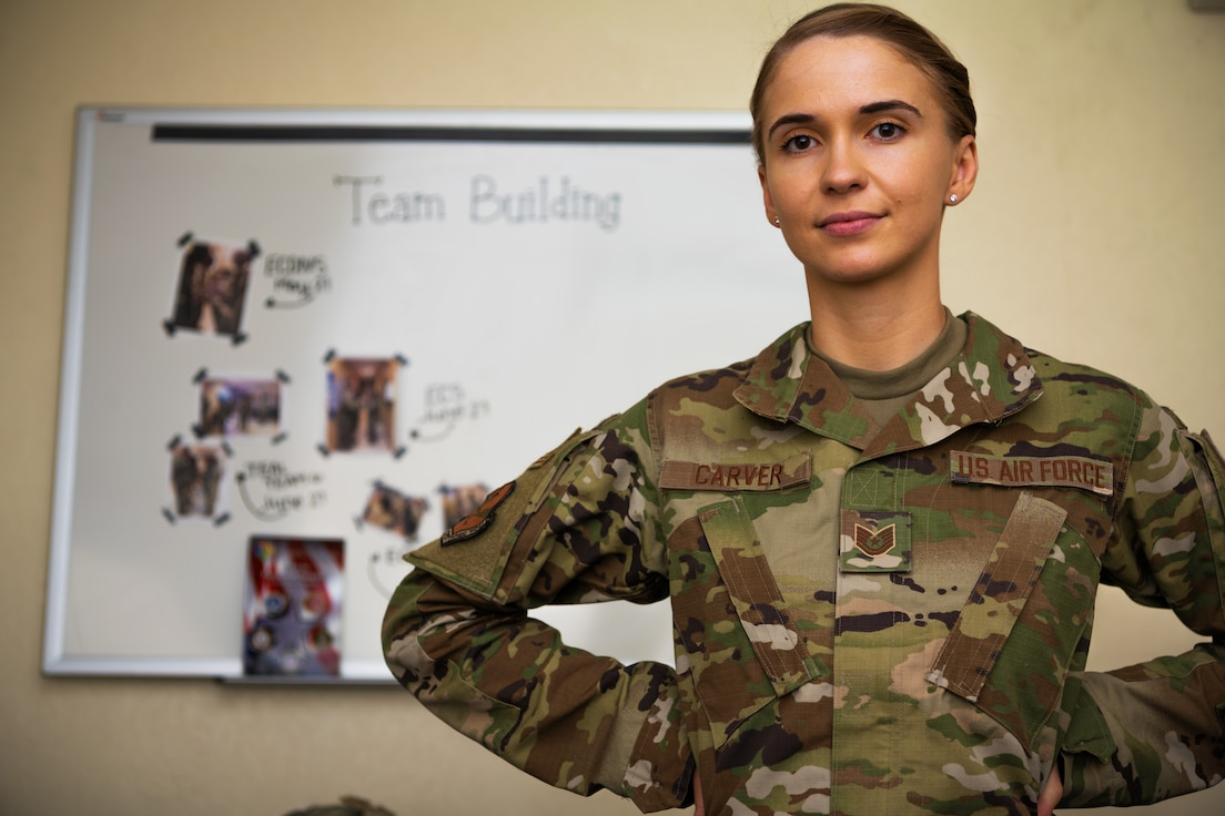 U.S. Air Force Tech. Sgt. Flavia Carver, 380th Air Expeditionary Wing Equal Opportunity director, explains the Diversity and inclusion initiative at Al Dhafra Air Base.