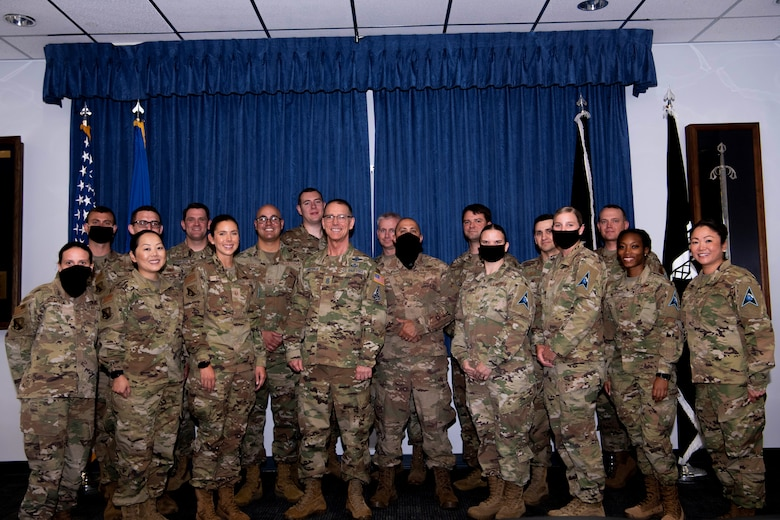 Chief Master Sgt. of the Space Force Roger A. Towberman poses with instructors from the Vosler Non-Commissioned Officer Academy at Peterson Air Force Base, Colorado, July 1, 2021.  The VNCOA was named the Department of the Air Force NCOA of the Year. The VNCOA transferred from the U.S. Air Force to the U.S. Space Force, Oct. 21, 2020, giving the USSF its first professional military education center. (U.S. Space Force photo by Airman 1st Class Joshua Fontenot)