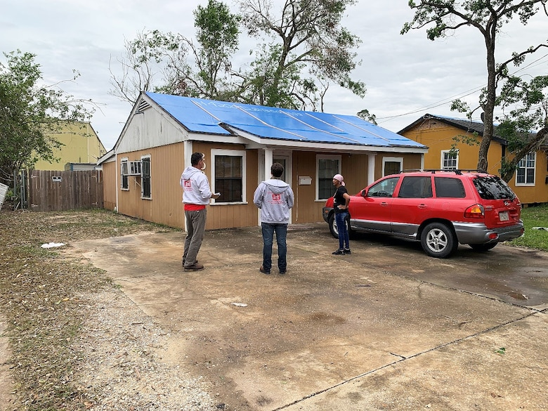 In response to hurricanes Laura and Delta, Pittsburgh District members Ben Caparelli and Pete Gerovac deployed to Lake Charles, Louisiana, to provide quality assurance support for Operation Blue Roof (U.S. Army photo by Ben Caparelli).