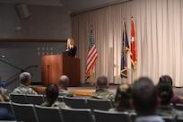 Elizabeth Smart speaks to Service members and employees of the Utah National Guard May 24, 2021 at Draper, Utah.
