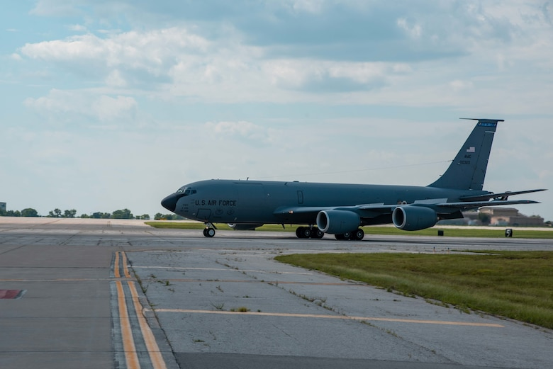 A KC-135 Stratotanker from MacDill Air Force Base, Florida taxi's the runway July 4, 2021, at McConnell AFB, Kansas. Approximately 10 Aircraft were evacuated to McConnell AFB due to tropical storm Elsa. The aircraft will return to MacDill AFB when conditions return to normal. (U.S. Air Force photo by Airman 1st Class Zachary Willis)