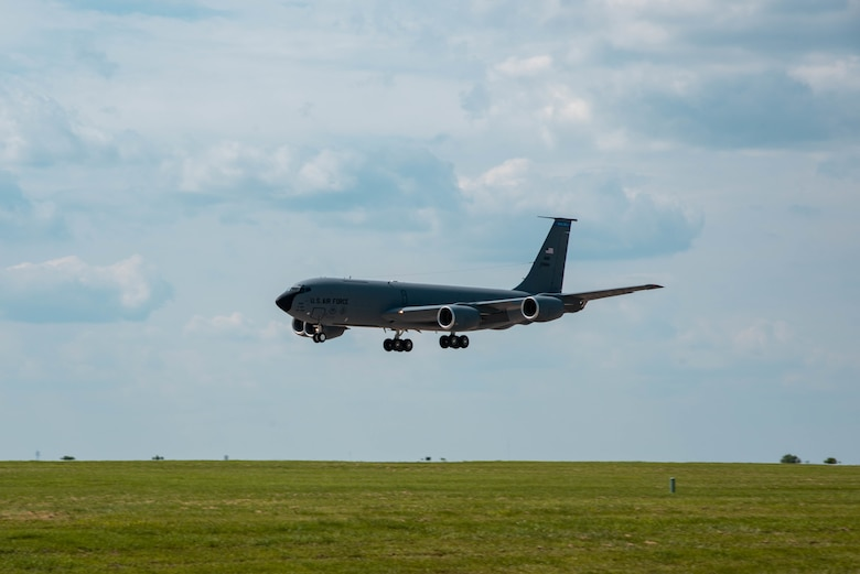 A KC-135 Stratotanker from MacDill Air Force Base, Florida lands July 4, 2021, at McConnell AFB, Kansas. Approximately 10 Aircraft were evacuated to McConnell AFB due to tropical storm Elsa. The aircraft will return to MacDill AFB when conditions return to normal.  (U.S. Air Force photo by Airman 1st Class Zachary Willis)
