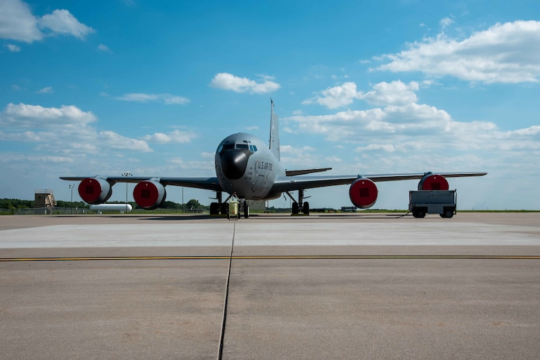 A KC-135 Stratotanker from MacDill Air Force Base, Florida sits on the flightline July 4, 2021, at McConnell AFB, Kansas. Approximately 10 Aircraft were evacuated to McConnell AFB due to tropical storm Elsa. The aircraft will return to MacDill AFB when conditions return to normal. (U.S. Air Force photo by Airman 1st Class Zachary Willis)