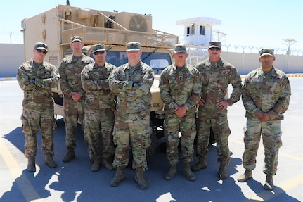 The 130th Field Artillery Brigade ADAM Cell assigned to Task Force Spartan, left to right, Capt. David Sanders, Chief Warrant Officer 2 Richard Machina, Chief Warrant Officer 2 Anthony Calanni, Spc. Bryce Manker, Spc. Christopher Dame, Staff Sgt. Chase Weber, and Staff Sgt. Johnathan Bustamante.