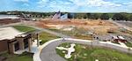 aerial photo shows progress on the demolition of Building 33 on Defense Supply Center Richmond, Virginia