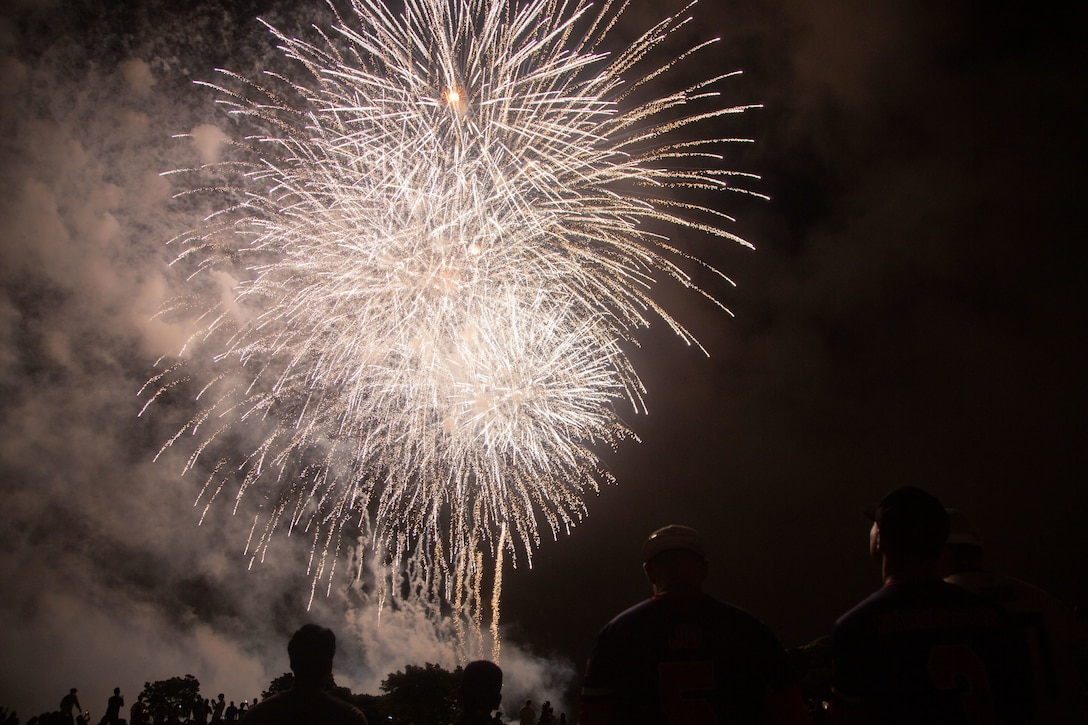 U.S. service members and their families watch the Fourth of July fireworks during the Camp Foster Festival on Camp Foster, Okinawa, Japan, July 3, 2021. Marine Corps Community Services holds the Camp Foster Festival every year to bring food, performances, and amusement park rides for service members and their families.
