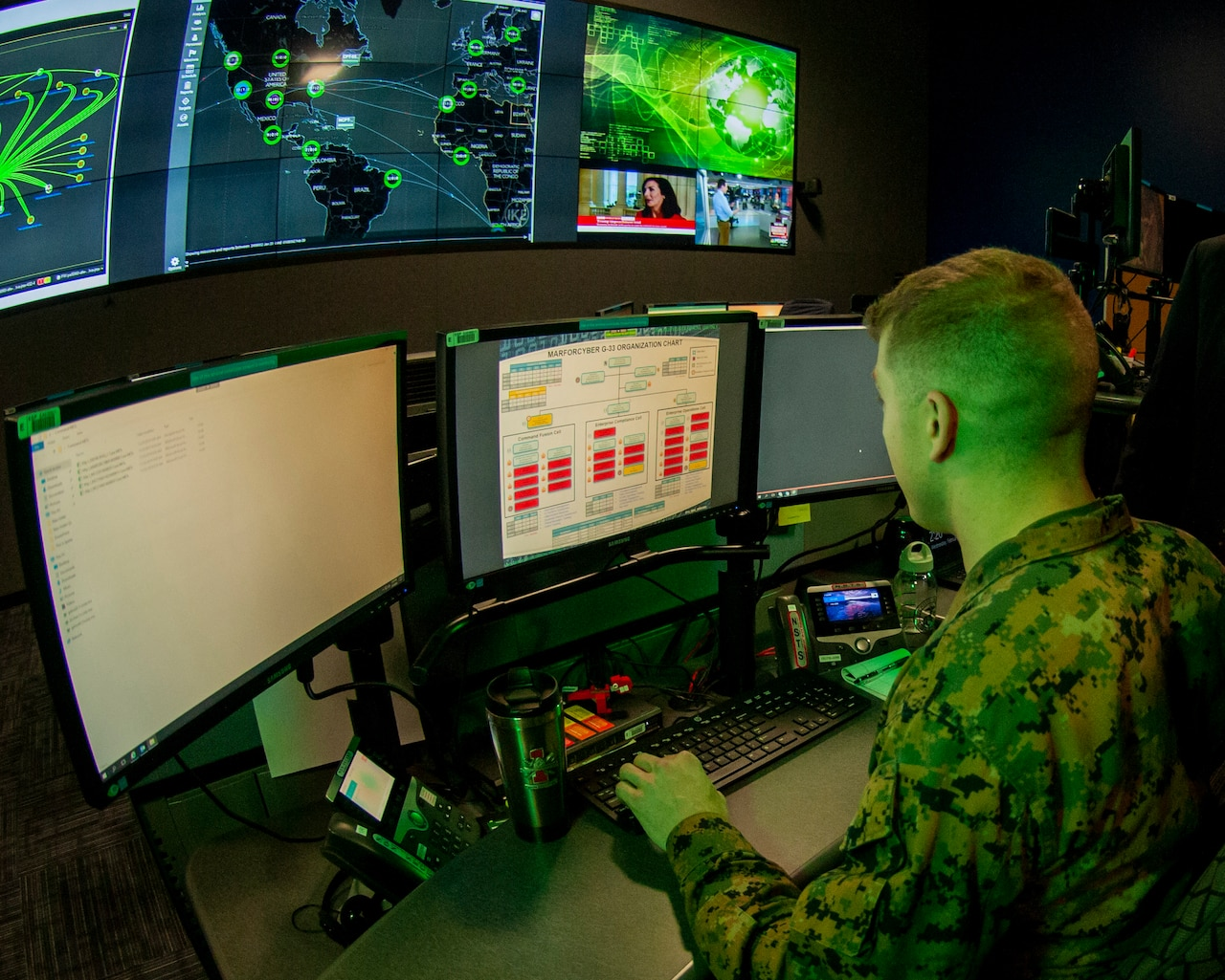 A Marine operates a computer.