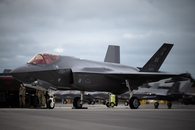 An F-35A Lightning II aircraft assigned to the 355th Fighter Squadron goes through a hot pit refueling on Eielson Air Force Base, Alaska, July 7, 2021.