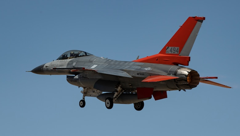 A QF-16 Full Scale Aerial Target takes off from Holloman Air Force Base, New Mexico for a rehearsal of a missile test on a QF-16. (U.S. Air Force photo by Tech. Sgt. Perry Aston)