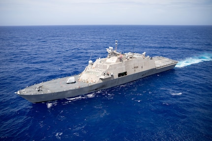 USS Wichita (LCS 13), USS Billings (LCS 15), and their embarked aviation detachments participate in a maritime training exercise with the Freedom-variant littoral combat ship USS Sioux City (LCS 11).