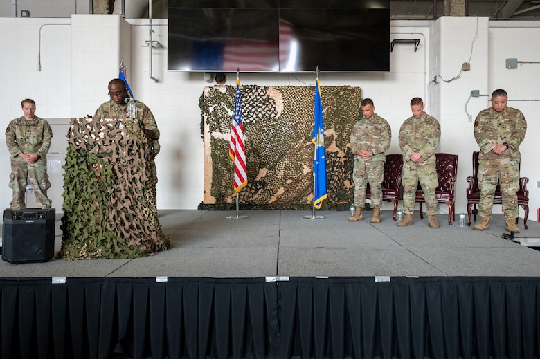 Capt. Dominic Smyth, 341st Missile Wing chaplain, delivers the invocation during the 341st Missile Security Operations Squadron change of command ceremony July 7, 2021, at Malmstrom Air Force Base, Mont.