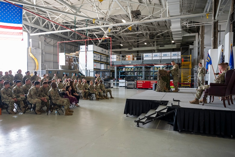Lt. Col. Min Lee, 341st Missile Security Operations Squadron incoming commander, addresses his new squadron for the first time during a change of command ceremony July 7, 2021, at Malmstrom Air Force Base, Mont.