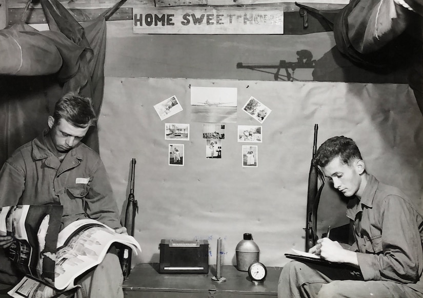 Armorer airmen of the 474th Fighter Bomber Wing enjoy downtime between missions during the Korean War. (U.S. Air Force photo)