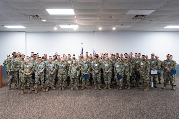 Members of Team Wright-Patt selected for promotion pose for a group photo during 2021 Technical Sergeant Release Party inside the Hope Hotel at Wright-Patterson Air Force Base, Ohio, June 30, 2021. This year 26.94% of those eligible were promoted to the next rank. (U.S. Air Force photo by Wesley Farnsworth)
