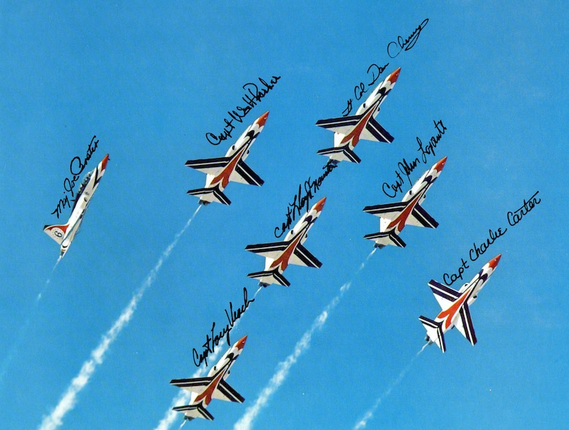 """Thunderbirds T-38A """"Talon"""" aircraft fly in formation in this autographed picture dateing back to 1977. (U.S. Air Force photo)"""