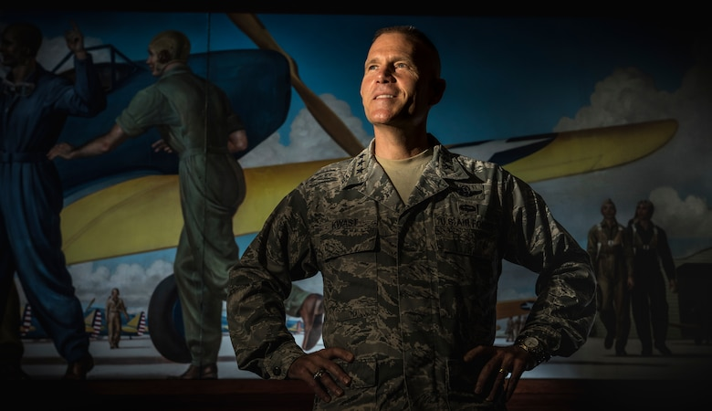 Lt. Gen. Steven L. Kwast, Commander, Air Education and Training Command at Joint Base San Antonio-Randolph, Texas, is photographed at AETC Headquarters, July 18, 2018. He is responsible for the recruiting, training and education of Air Force personnel. The command operates more than 1,400 trainer, fighter and mobility aircraft, 23 wings, 10 bases and five geographically separated groups. It trains more than 293,000 students per year with approximately 60,000 active duty, Reserve, Guard, civilian and contractor personnel. (U.S. Air Force photo by J.M. Eddins Jr.)