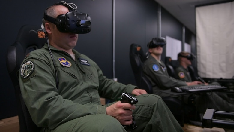 Air Education and Training Command is experimenting with a more efficient path for pilots to earn their wings through the Pilot Training Next initiative, a six-month program at the Armed Forces Reserve Center in Austin, Texas. PTN uses new virtual-reality flight simulators that allow students to refine their skills before ever stepping into a real cockpit. (U.S. Air Force photo)
