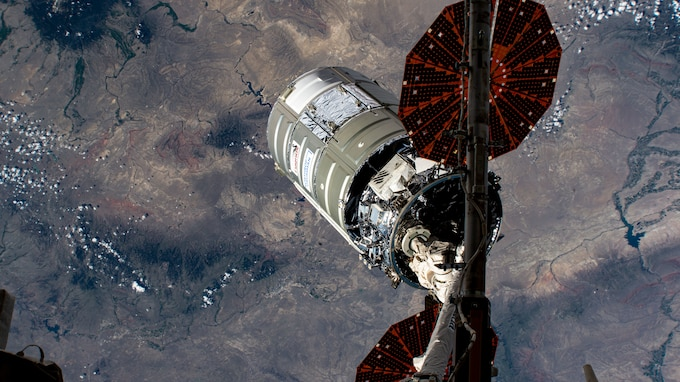 The International Space Station releases the Cygnus cargo vessel S.S. Katherine Johnson over southern Wyoming in the U.S. on June 30. As a secondary mission, the Cygnus cargo vessel deployed a U.S. Army Space and Missile Defense Command and Assured Position Navigation and Timing/Space Cross Functional Team Gunsmoke-J joint capability technology demonstration satellite. (NASA photo)