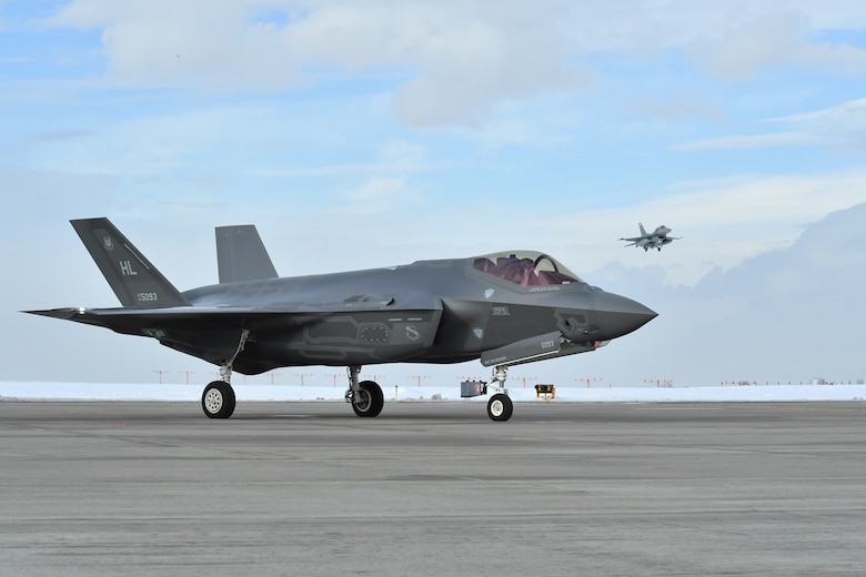F-35A Lightning IIs piloted by the 388th and 419th Fighter Wings prepare to depart Hill AFB, Utah, Jan. 20 for Nellis AFB, Nev., to participate in a Red Flag exercise. Red Flag is the U.S. Air Force's premier air-to-air combat training exercise. This is the first deployment to Red Flag since the Air Force declared the jet combat ready in August 2016. (U.S. Air Force photo/R. Nial Bradshaw)