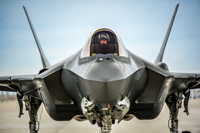 Maj. Garret Dover prepares to taxi in an F-35A of the 31st Test and Evaluation Squadron, a tenant unit at Edwards Air Force Base, Calif., takes off on a test flight at Mountain Home AFB, Idaho, Feb 17, 2016. Six operational test and evaluation F-35s and more than 85 Airmen of the 31st TES travelled to Mountain Home AFB to conduct the first simulated deployment test of the F-35A, specifically to execute three key initial operational capability mission sets: suppression of enemy air defenses, close air support and air interdiction. (U.S. Air Force photo by J.M. Eddins Jr.)