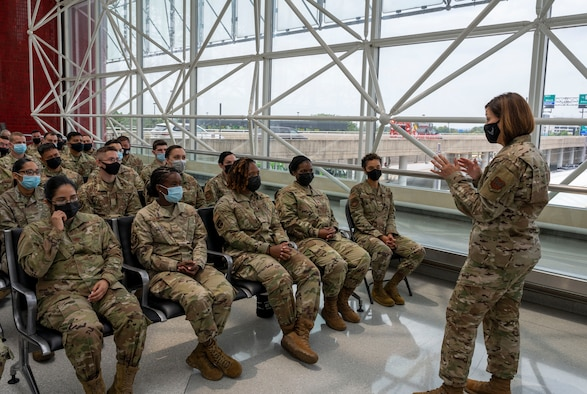 Chief Master Sgt. of the Air Force JoAnne S. Bass speaks with Airmen at the Patriot Express COVID-19 testing facility in the Baltimore/Washington International Thurgood Marshall Airport in Baltimore, July 8, 2021. Over 22,000 rapid, on-site, COVID-19 tests were administered by Air Force medical professionals deployed to Air Mobility Command aerial ports of embarkation. Due to the increased availability in COVID-19 testing centers and vaccines, testing at the BWI facility is scheduled to discontinue July 15, 2021. (U.S. Air Force photo by Airman 1st Class Cydney Lee)