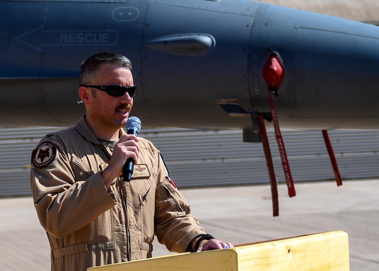 """U.S. Air Force Col. Kristoffer """"Smirk"""" Smith, outgoing 378th Expeditionary Operations Group commander, addresses the audience during the group change of command, Prince Sultan Air Base, July 5, 2021. The 378th EOG provides combat power projection in support of U.S. Central Command plans and operations. (U.S. Air Force photo by Senior Airman Samuel Earick)"""