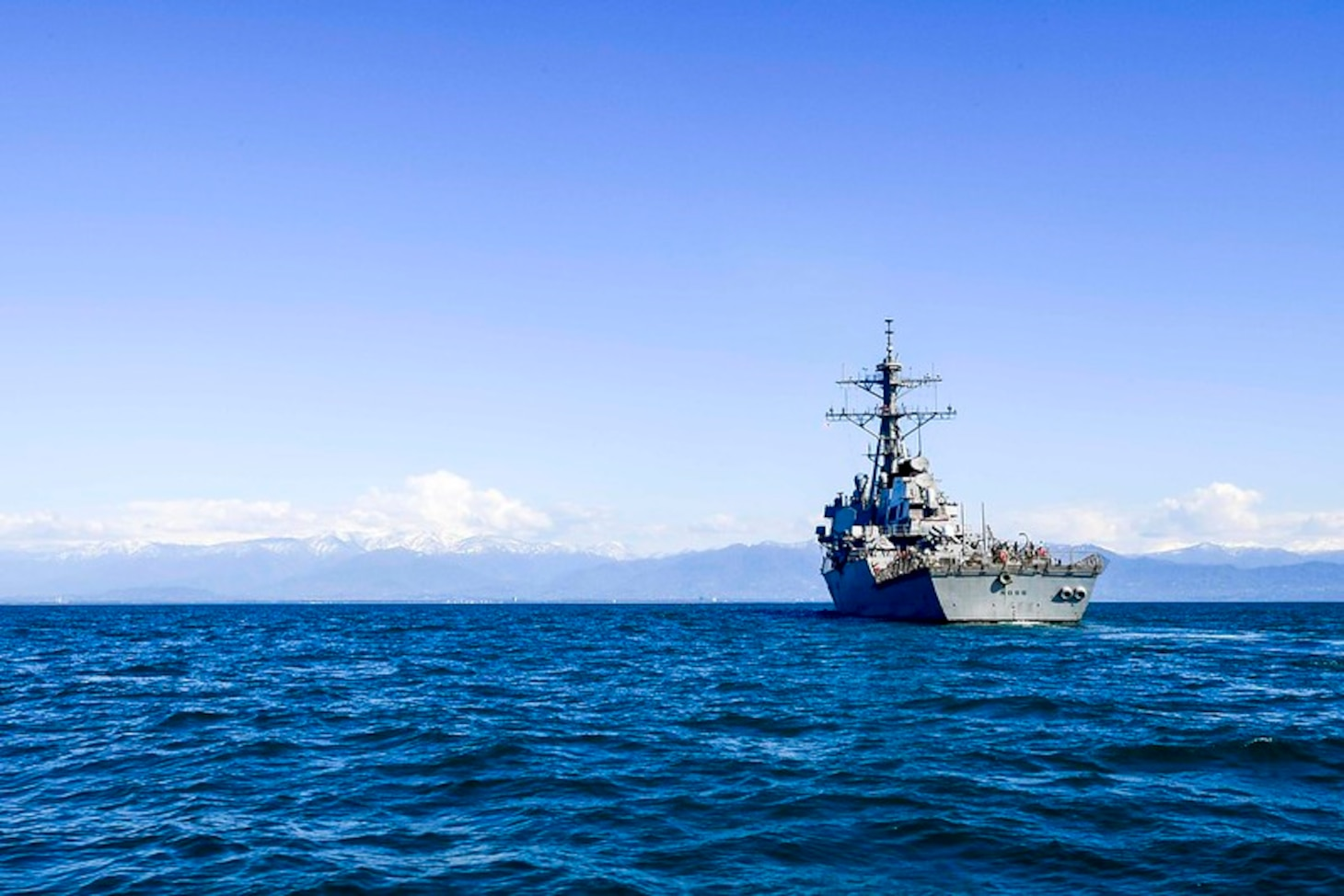 (April 25, 2019) - The Arleigh Burke-class guided-missile destroyer USS Ross (DDG 71) transits the Black Sea, April 25, 2019. Ross, forward-deployed to Rota, Spain, is on its eighth patrol in the U.S. 6th Fleet area of operations in support of U.S. national security interests in Europe and Africa. (U.S. Navy photo by Mass Communication Specialist 2nd Class Krystina Coffey/Released)