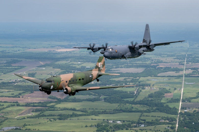 AC-47, AC-130J perform gunship legacy flight over Topeka