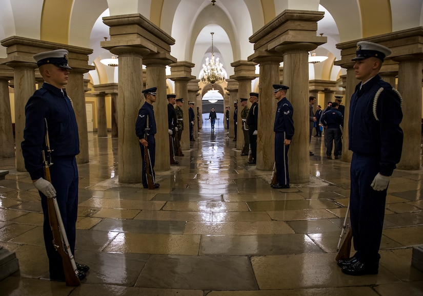 Joint service honor guard cordon