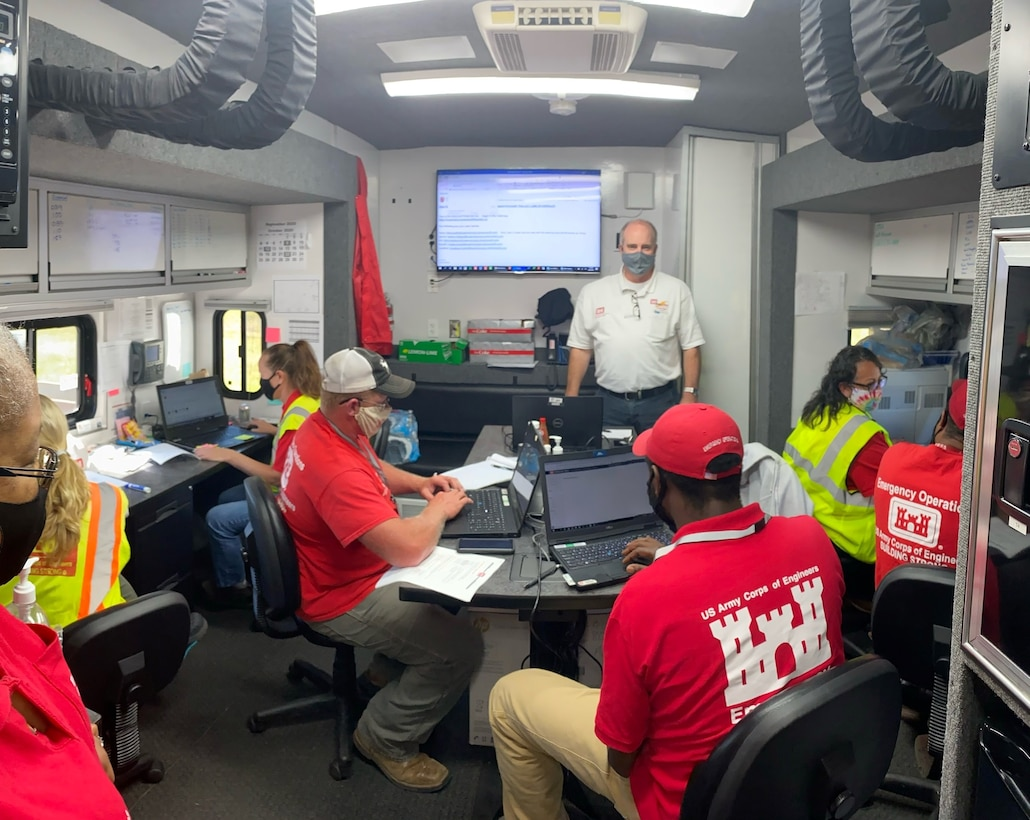 U.S. Army Corps of Engineers Planning and Response Team members respond to the Hurricane Laura aftermath in the Lake Charles, Louisiana area. The Memphis District actively responds to emergencies throughout the country, assisting in the form of the Blue Roof Program, debris removal, temporary housing and infrastructure support, and temporary emergency power.