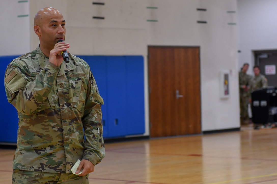 Chief Master Sgt. Robert Devall, Buckley Garrison command chief, addresses attendees of the commander's call at Buckley Space Force Base, Colo., July 9, 2021.