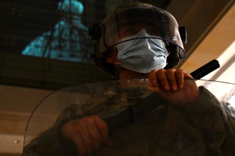 U.S. Pfc. Katheryne Rubio, 272nd Chemical Company, Massachusetts Army National Guard, poses for a photo in the Capitol building in Washington, D.C., April 27, 2021. Since January, Army and Air National Guard units from around the country have provided ongoing security, communication, medical, evacuation, logistical and safety support to capital civil authorities. (U.S. Air National Guard photo by Staff Sgt. Hanna Smith)