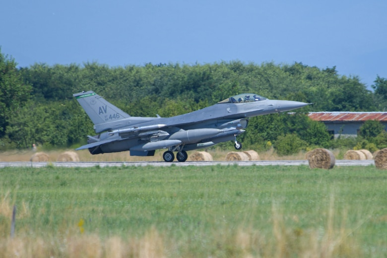 A U.S. Air Force F-16 Fighting Falcon assigned to the 555th Fighter Squadron lands at Graf Ignatievo Air Base, Bulgaria, for exercise Thracian Star 21, July 9, 2021. Thracian Star 21 is a multilateral training exercise with the Bulgarian air force, aimed to enhance the ability to rapidly deploy to remote locations and provide a credible force to assure stability for the region. (U.S. Air Force photo by Airman 1st Class Brooke Moeder)