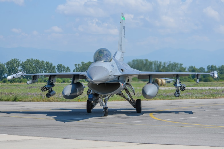 A U.S. Air Force F-16 Fighting Falcon assigned to the 555th Fighter Squadron, taxis off the flightline at Graf Ignatievo Air Base, Bulgaria, July 9, 2021. Eight F-16s from the 555th FS are participating in Thracian Star 21, a multilateral training opportunity to test the squadron's ability to rapidly forward deploy, sustain operations, and work in coordination with our partners and allies. (U.S. Air Force photo by Airman 1st Class Brooke Moeder)