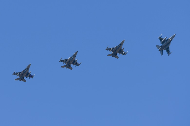 Four U.S. Air Force F-16 Fighting Falcons assigned to the 555th Fighter Squadron prepare to land at Graf Ignatievo Air Base, Bulgaria, for exercise Thracian Star 21, July 9, 2021. Exercise objectives include maximizing interoperability, combat effectiveness and survival awareness while operating in a dynamic high-threat environment. (U.S. Air Force photo by Airman 1st Class Brooke Moeder)