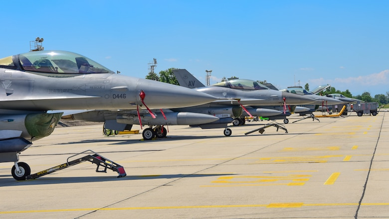 U.S. Air Force F-16 Fighting Falcons assigned to the 555th Fighter Squadron (FS) park on the flightline in preparation for Thracian Star 21 at Graf Ignatievo Air Base, Bulgaria, July 9, 2021. Eight F-16s assigned to the 555th FS are participating in Thracian Star 21, a multilateral training exercise with the Bulgarian air force, aimed to enhance the ability to rapidly deploy to remote locations and provide credible force to assure stability for the region. (U.S. Air Force photo by Airman 1st Class Brooke Moeder)