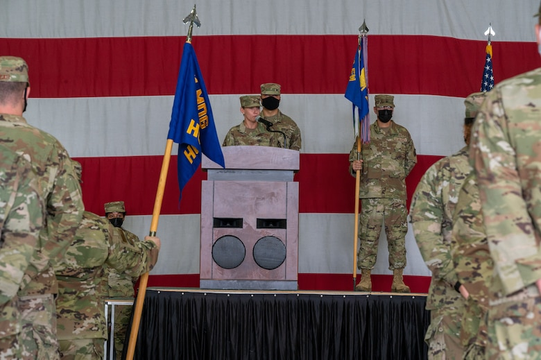 Col. Jennifer Vecchione, 51st Medical Group commander, delivers remarks to her squadron during the change of command ceremony at Osan Air Base, Republic of Korea, July 12, 2021. The ceremonial passing of the guidon to Vecchione marks the official beginning of her command of the 51st MDG. (U.S. Air Force photo by Tech. Sgt. Nicholas Alder)