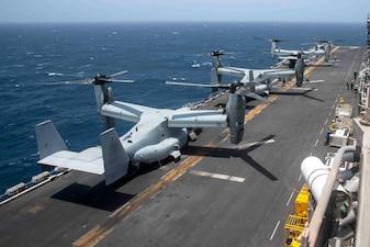USS Iwo Jima (LHD 7) conducts flight operations in the Gulf of Aden.