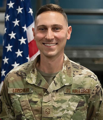 Master Sgt. Zachary Loechler, 87th Aerial Port Squadron air transportation craftsman, 87 APS safety and security manager, is the 445th Airlift Wing July 2021 Spotlight Performer.