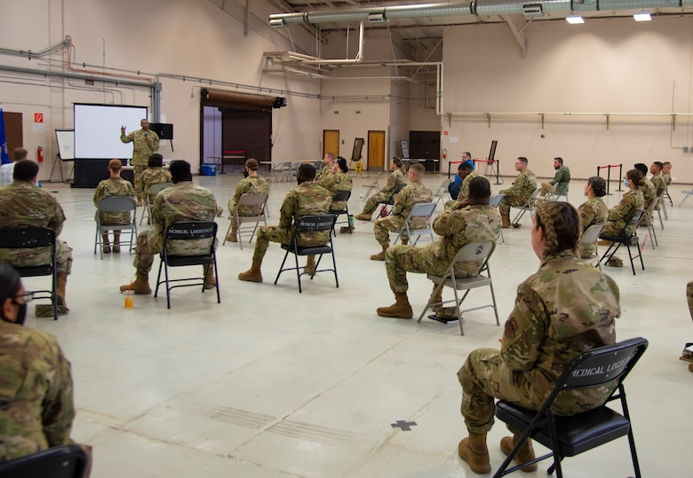 Command Sgt. Maj. Michael Gragg, Defense Health Agency senior enlisted leader, answers questions during a 49th Medical Group town hall, June 30, 2021, on Holloman Air Force Base, New Mexico. Gragg visited the 49th MDG to discuss the current state of the DHA and to address any areas of concern. (U.S. Air Force photo by Airman 1st Class Jessica Sanchez)