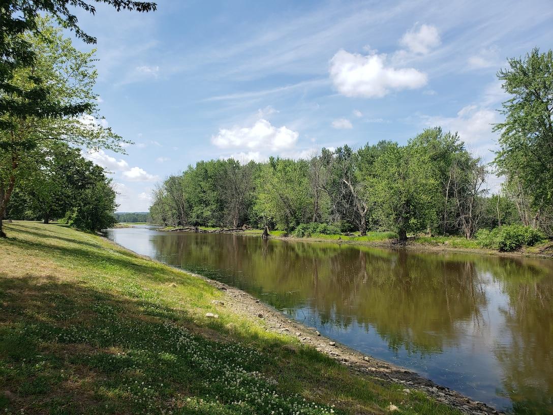 A river and shoreline