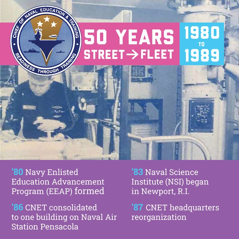 Graphic created for Naval Education and Training Command's (NETC) 50th-anniversary observance, depicting 1980-1989, incorporating a scan of part of a training and education report cover and an early Chief of Naval Education and Training (CNET) logo used during this decade. Highlights from NETC, at the time called CNET, included a headquarters reorganization and consolidation into one building at Naval Air Station Pensacola.