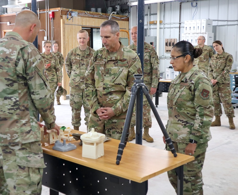 Reserve Citizen Airman describes functions of maintenance squadron-created tools to 4th AF senior leaders.