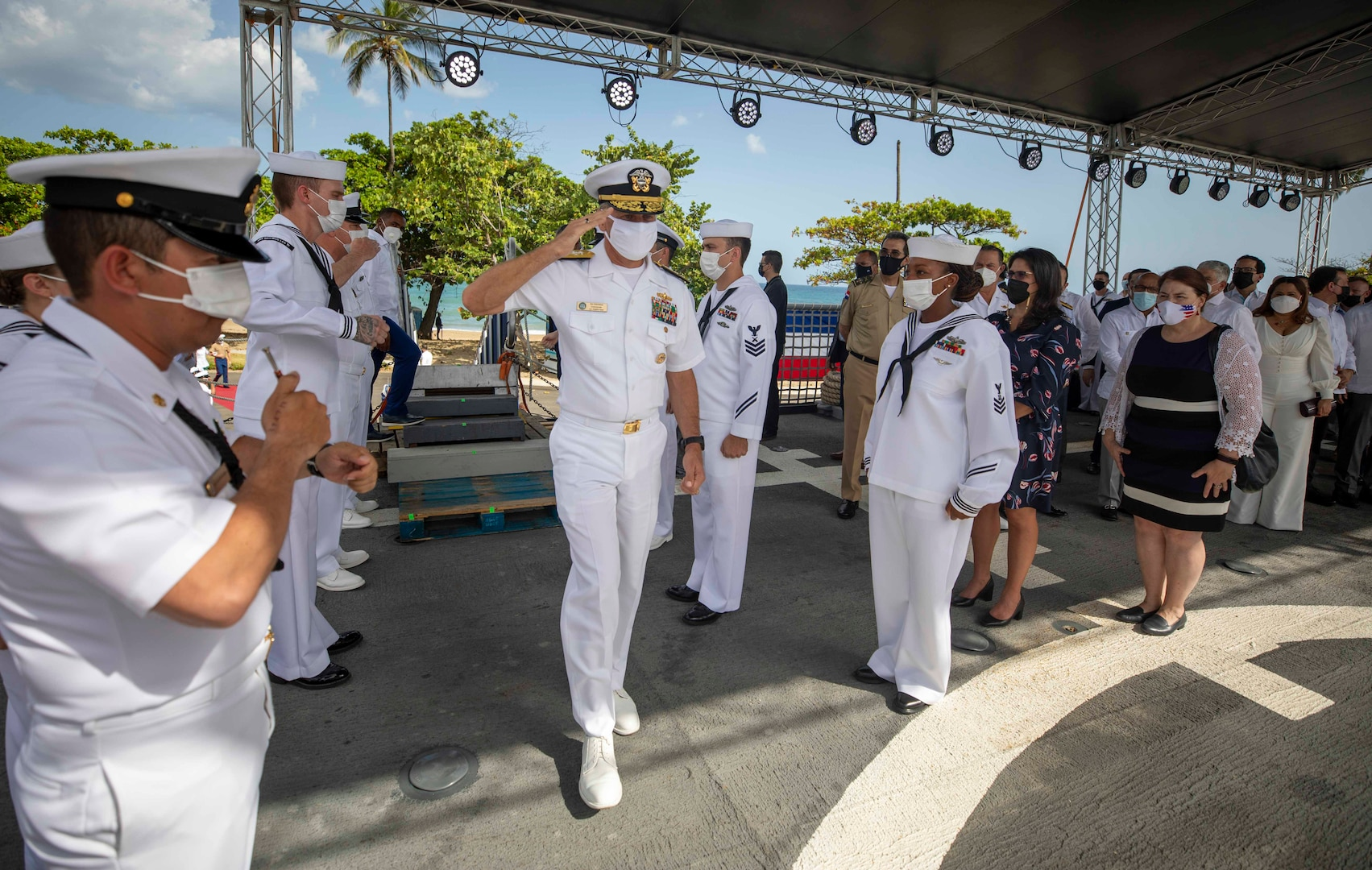 Rear Adm. Don Gabrielson, commander of U.S. Naval Forces Southern Command/U.S. 4th Fleet, boards the Freedom-variant littoral combat ship USS Billings (LCS 15), July 9, 2021.