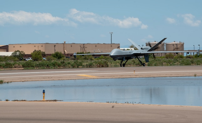 An MQ-9 Reaper from Creech Air Force Base, Nevada, lands at Holloman AFB, New Mexico.