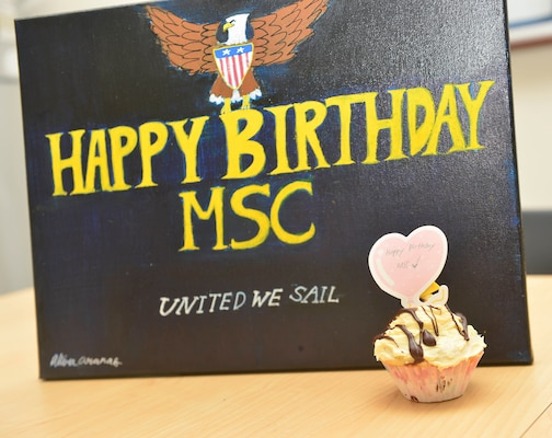 210709-N-UA460-003 SINGAPORE (July 9, 2021) Akira Aranas painted an original birthday card for Military Sealift Command, which celebrated 72 years of service to the Department of Defense, July 9. One of MSC's five commands, MSC Far East, took time to note the occasion. MSC FE ensures approximately 50 ships in the Indo-Pacific region, are manned, trained and equipped to deliver essential supplies, fuel, cargo, and equipment to warfighters, both at sea and on shore. As the U.S. Navy's largest forward-deployed fleet, 7th Fleet employs 50-70 ships and submarines across the Western Pacific and Indian oceans. U.S. 7th Fleet routinely operates and interacts with 35 maritime nations while conducting missions to preserve and protect a free and open Indo-Pacific Region. Military Sealift Command is the leading provider of ocean transportation for the Navy and the rest of the Department of Defense - operating approximately 125 ships daily around the globe. (U.S. Navy photo by Mass Communication Specialist 1st Class Gregory Johnson)