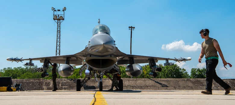 A U.S. Air Force F-16 Fighting Falcon lands after arriving at Graf Ignatievo Air Base, Bulgaria, for Bulgarian air force-led exercise Thracian Star 21, July 9, 2021. Participation in multinational exercises such as Thracian Star 21 enhances professional relationships and improves overall coordination with allies and partner militaries during times of crisis. (U.S. Air Force photo by Airman 1st Class Brooke Moeder)