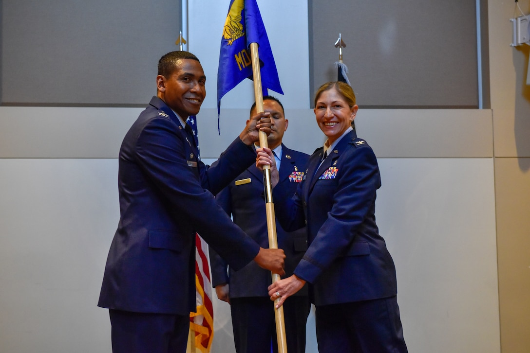 Col. Ilaina Wingler gives a speech following her appointment as the commander of the 460th Medical Group at Buckley Space Force Base, Colo., July 13, 2021. Wagner will oversee supporting the medical needs of the Airmen, Guardians, and their families at BSFB. (U.S. Space Force photo by Airman 1st Class Wyatt Stabler)