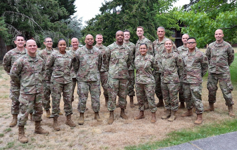 Group photo with AFRC Command Chief and 446th Airlift Wing's Diamond Council members.