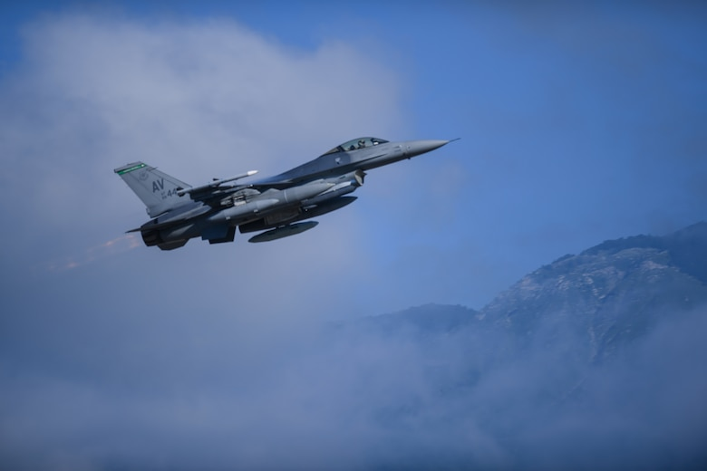 A U.S. Air Force F-16 Fighting Falcon assigned to the 555th Fighter Squadron takes off during exercise Thracian Star 21 at Aviano Air Base, Italy, July 9, 2021. Thracian Star 21 is a multilateral training exercise with the Bulgarian air force which increases operational capacity, capability, and interoperability with Bulgaria. (U.S. Air Force photo by Senior Airman Ericka A. Woolever)